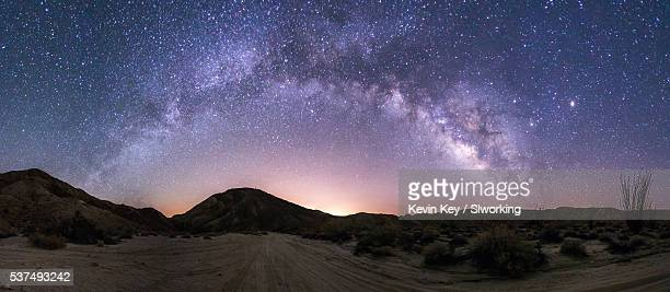 wide shot of the milky way over anza-borrego desert state park - anza borrego desert state park stock pictures, royalty-free photos & images