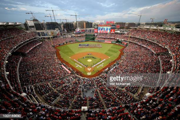 A wide shot of the national anthem during the 89th MLB AllStar Game presented by Mastercard at Nationals Park on July 17 2018 in Washington DC