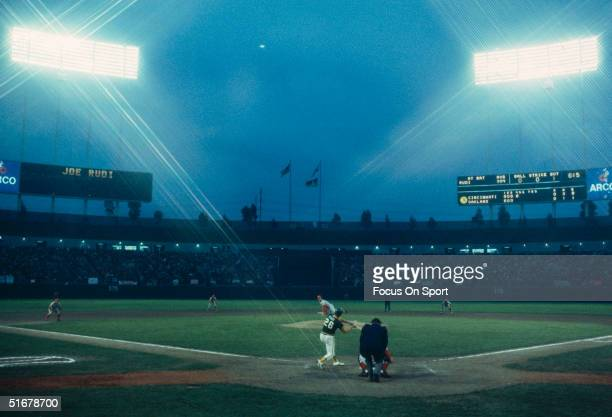 Wide shot of the Oakland-Alameda County Coliseum during the World Series on October 1972 in Oakland, California.