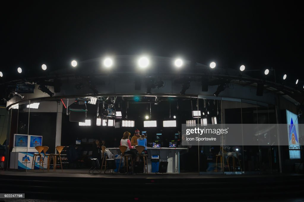 A wide shot of the Today Show set in the middle of the Olympic Cluster during the 2018 Winter Olympic Games at the Gangneung Ice Arena on February 20, 2018 in PyeongChang, South Korea.