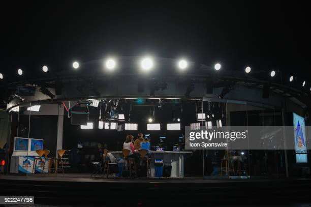 A wide shot of the Today Show set in the middle of the Olympic Cluster during the 2018 Winter Olympic Games at the Gangneung Ice Arena on February 20...