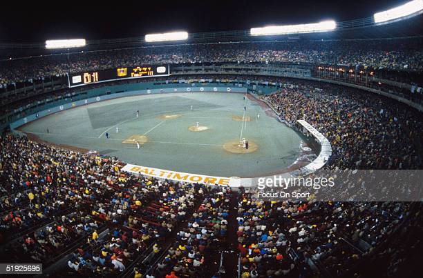 Wide shot shows Three Rivers Stadium full in action and lit up during the World Series featuring the Baltimore Orioles and the Pittsburgh Pirates in...