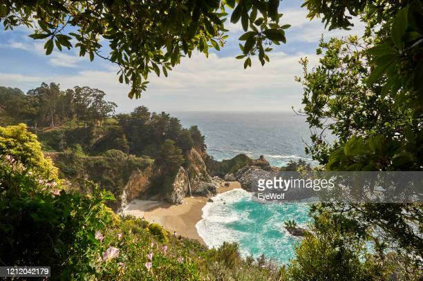 wide shot view of big sur from above on pacific coast highway 1 - california stock pictures, royalty-free photos & images