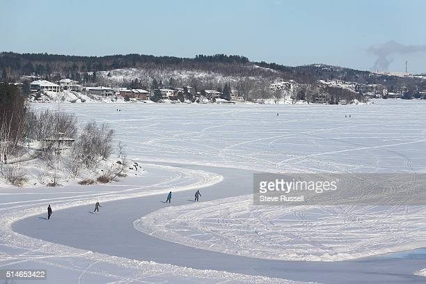 A wide skating path is created on Ramsey Lake every winter and becomes the centre for winter activities near Science North in Sudbury January 22 2016