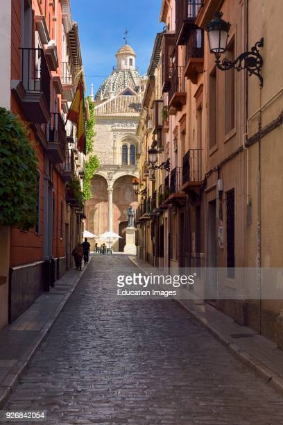 Wide street of Santo Domingo leading to the ancient church and statue of Friar Louis of Granada