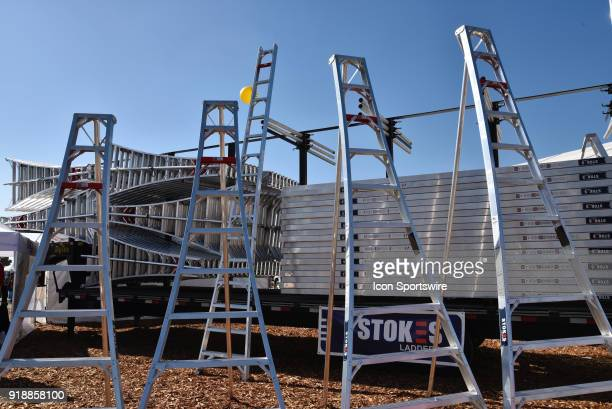 Wide variety of STOKES tripod orchard ladders on display during the 51st World Ag Expo on February 13 2018 at the International AgriCenter in Tulare...