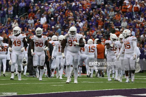 A wide view as the Texas Longhorn defense walks onto the field in the second quarter of a Big 12 matchup between the Texas Longhorns and Kansas State...
