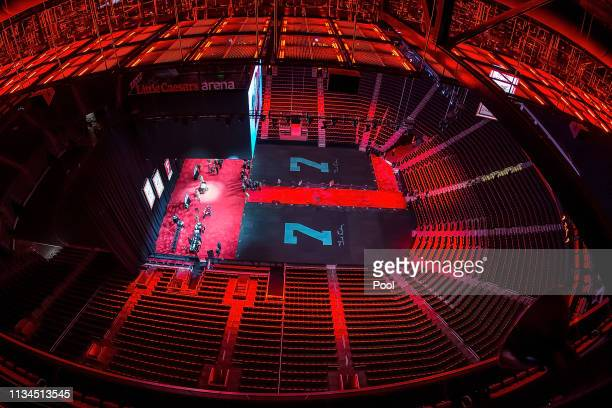 A wide view from above during the public visitation of NHL Hall of Famer and former Detroit Red Wing Ted Lindsay at Little Caesars Arena home of the...