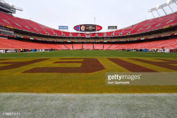 A wide view from the end zone before an NFL Divisional round playoff game between the Houston Texans and Kansas City Chiefs on January 12 2020 at...