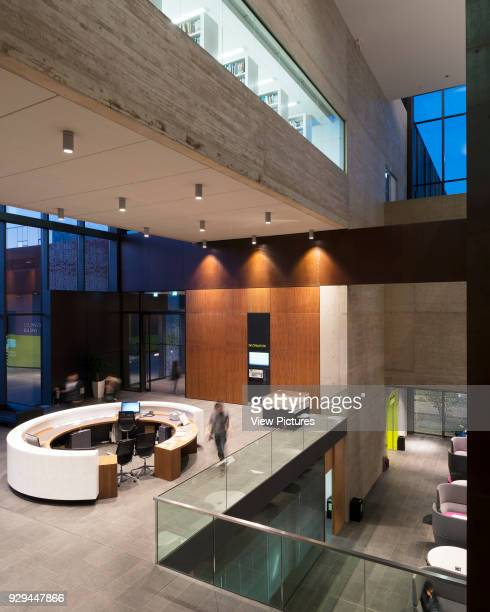 Wide view into reception John Henry Brookes Building Oxford Brookes University Oxford United Kingdom Architect Design Engine Architects Ltd with...