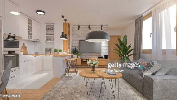 ampla vista de um apartamento moderno renderizado com sala e cozinha - largo descrição geral - fotografias e filmes do acervo
