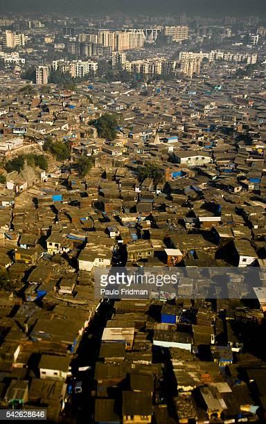 wide view of a slum in Delhi India