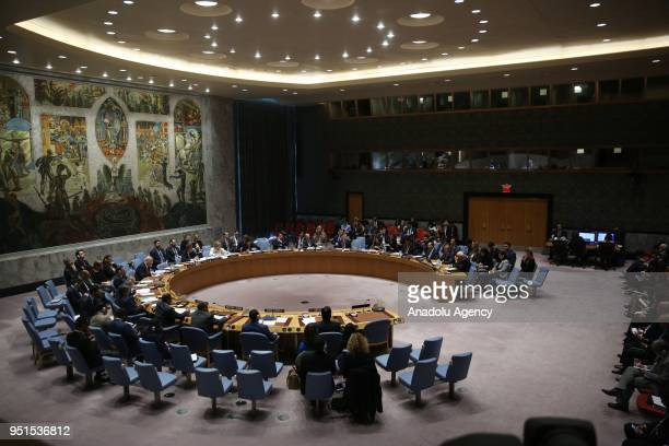 A wide view of a UN Security Council meeting on the situation in Palestine at UN Headquarters in New York United States on April 26 2018