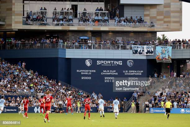 Wide view of action in the first half of an MLS match between FC Dallas and Sporting Kansas City on August 19th, 2017 at Children's Mercy Park in...