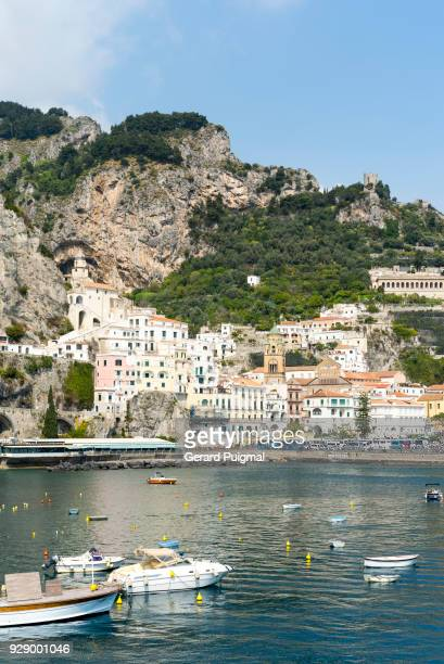 a wide view of amalfi village in the amalfi coast - waterfront stock pictures, royalty-free photos & images