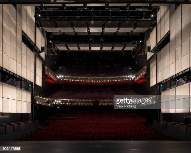Wide view of auditorium from stage with house lights off Sadler's Wells Theatre Auditorium London United Kingdom Architect RHWL Architects 1998