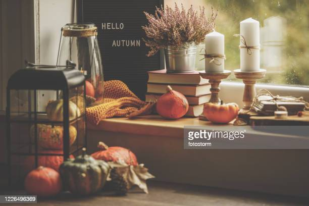 wide view of autumn decorations placed on windowsill - embellishment stock pictures, royalty-free photos & images