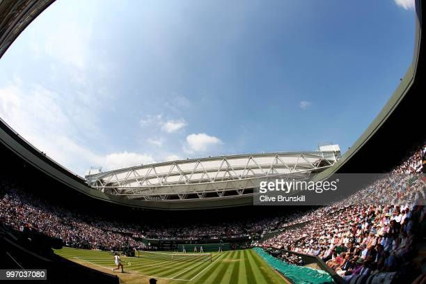 A wide view of Centre Court during the Ladies' Singles semifinal match between Angelique Kerber of Germany and Jelena Ostapenko of Latvia during...