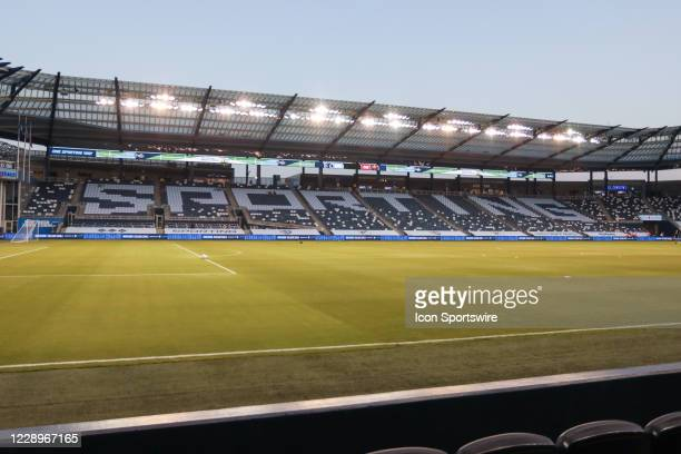 Wide view of Children's Mercy Park before an MLS match between the Chicago Fire and Sporting Kansas City on October 7, 2020 in Kansas City, KS.