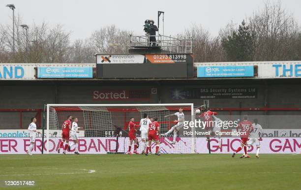 Wide view of Crawley Town's Tom Nichols going close from a first half corner during the FA Cup Third Round match between Crawley Town and Leeds...