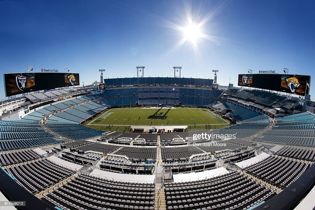 A wide view of EverBank Field from midfield before the game between the Jacksonville Jaguars and Oakland Raiders on October 23, 2016 in Jacksonville, Florida.