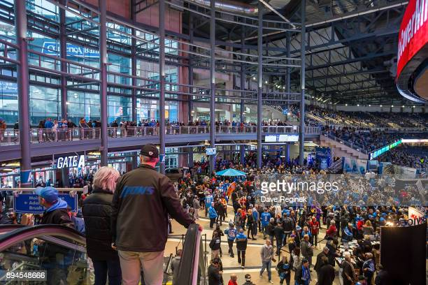 A wide view of fans entering Ford Field before an NFL game between the Detroit Lions and the Minnesota Vikings on November 23 2016 in Detroit...