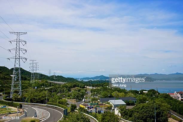 Wide view of highway and Onaruto Bridge