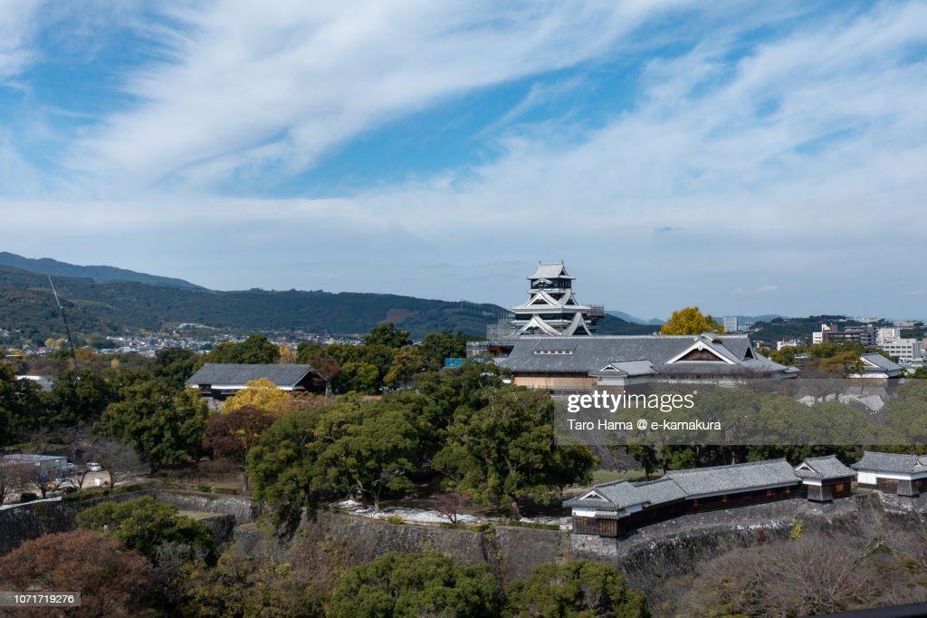 Wide view of Kumamoto Castle in Kumamoto city in Japan : Stock Photo