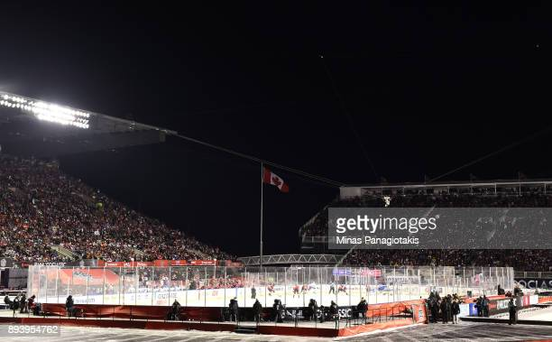 A wide view of Lansdowne Stadium as the Ottawa Senators take on the Montreal Canadiens during the 2017 Scotiabank NHL100 Classic at Lansdowne Park on...
