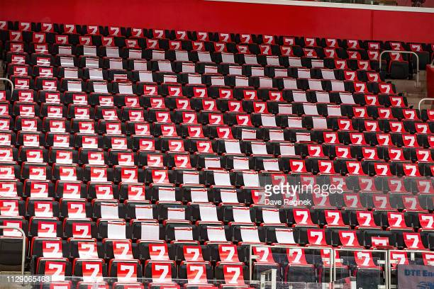 A wide view of Little Caesars Arena with a commemorative on each seat in honor for the late Detroit Red Wing and Hall of Fame great Ted Lindsay who...