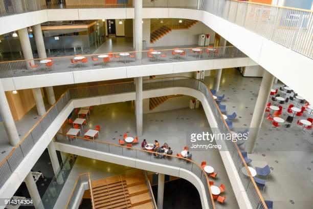 vue large d'intérieur de collège moderne avec plan ouvert salon sur différents niveaux - mezzanine photos et images de collection