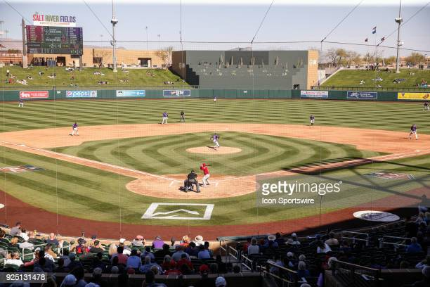 A wide view of Salt River Fields during the spring training baseball game between the Los Angeles Angels and the Colorado Rockies on February 27 2018...