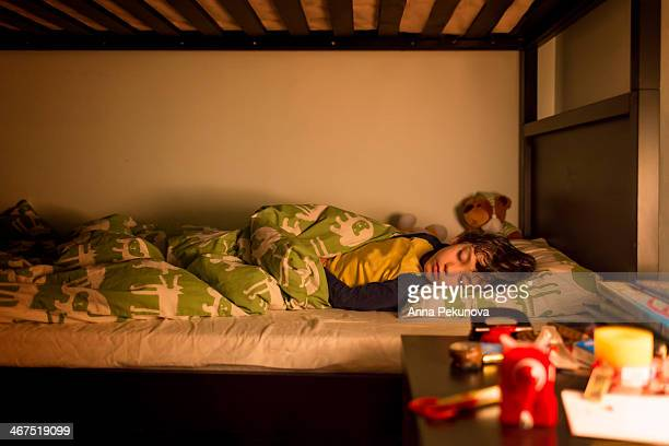 Wide view of sleeping boy