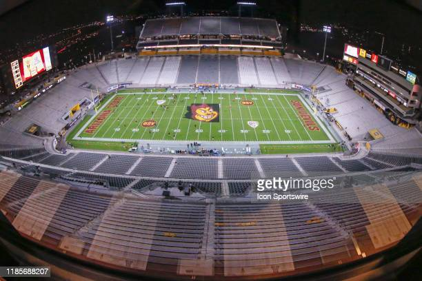 Wide view of Sun Devil Stadium before the college football game between the Arizona Wildcats and the Arizona State Sun Devils on November 30, 2019 at...