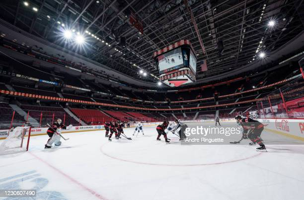 Wide view of the a face-off between the Ottawa Senators and the Toronto Maple Leafs at Canadian Tire Centre on January 15, 2021 in Ottawa, Ontario,...