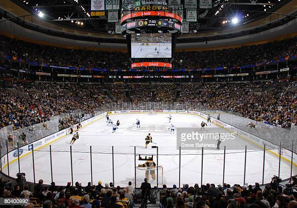 A wide view of the arena as the Boston Bruins play the Toronto Maple Leafs at the TD Banknorth Garden on March 27 2008 in Boston Massachusetts