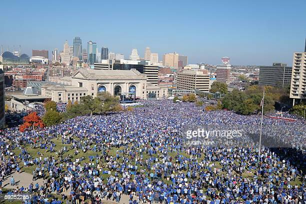 Wide view of the crowd on the lawn at the Liberty Memorial in front of Union Station for the Pep Rally for the World Series Champions Kansas City...