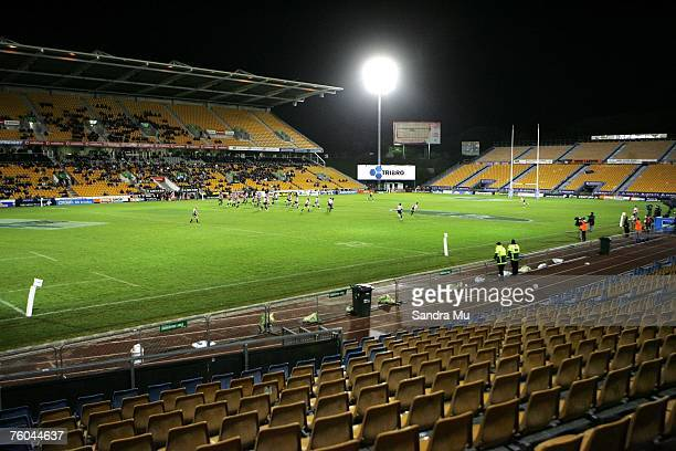 Wide view of the game shows the empty stands during the Air New Zealand Cup match between Counties and North Harbour at Mt Smart Stadium on August...
