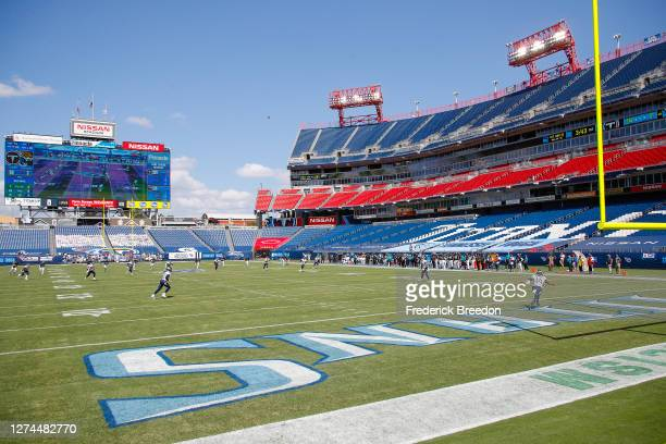 Wide view of the interior of Nissan Stadium during a game between the Tennessee Titans victory over the Jacksonville Jaguars on September 20, 2020 in...