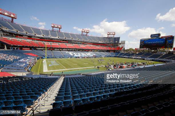 Wide view of the interior of Nissan Stadium during the second half of a 33-30 Tennessee Titans victory over the Jacksonville Jaguars on September 20,...