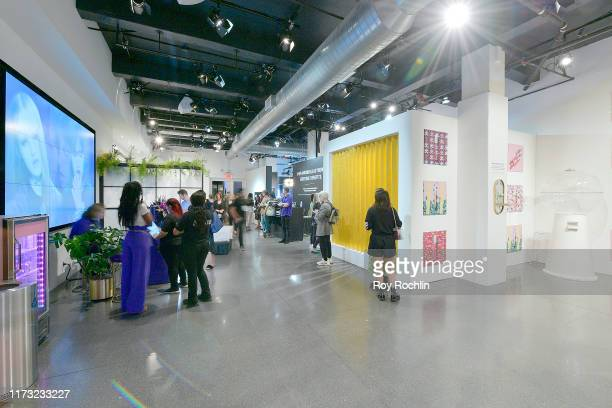 Wide view of the Maybelline x Ashley Longshore activation in The Lobby of Spring Studios during New York Fashion Week: The Shows at Spring Studios on...