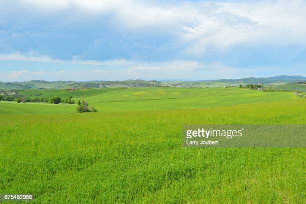 wide view of the pastures of val d'orcia with mountain range in the back and very dramatic, interesting sky - san quirico d'orcia stock pictures, royalty-free photos & images