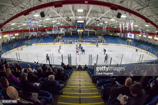 Wide view of the puck drop between Czech Nationals and the USA Nationals during the 2018 Under-18 Five Nations Tournament game at USA Hockey Arena on...