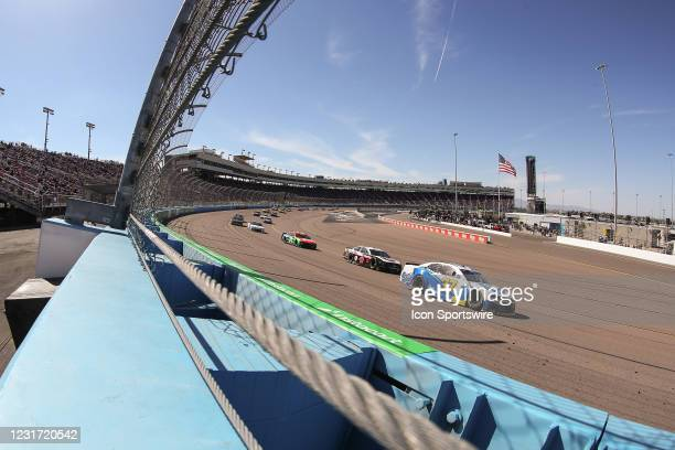 Wide view of the race from a photo hole during the Instacart 500 Nascar Cup Series Race on March 14, 2021 at Phoenix ISM Raceway in Phoenix, Arizona.