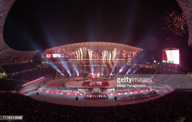 Wide view of the stadium as fireworks go off in advance of the Calgary Flames taking on the Winnipeg Jets during the 2019 Tim Hortons NHL Heritage...