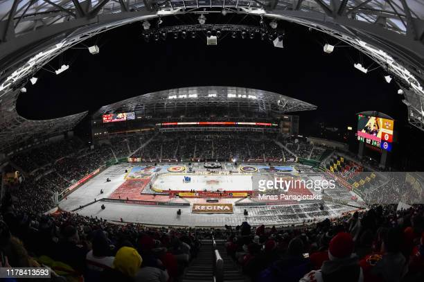 Wide view of the stadium in advance of the Calgary Flames taking on the Winnipeg Jets during the 2019 Tim Hortons NHL Heritage Classic at Mosaic...