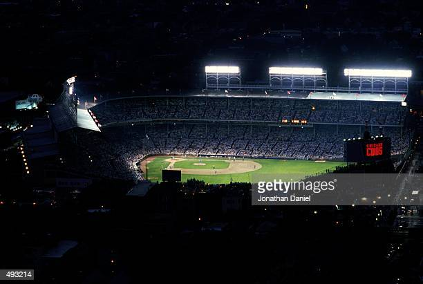 Wide view of the Wrigley Field taken during a night game in Chicago, Illinois. Mandatory Credit: Jonathan Daniel /Allsport