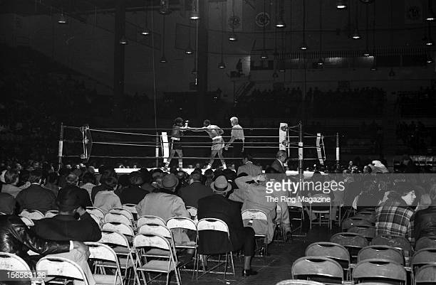 A wide view taken during the fight between Larry Holmes and Kevin Isaac at the Arena on November 28 1973 in Cleveland Ohio Larry Holmes won by a TKO 3