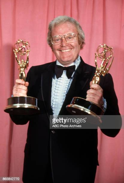 Wide World of Sports producer Roone Arledge holds his Emmy Awards in the press room at The 25th Primetime Emmy Awards on May 20 1973 at Shubert...