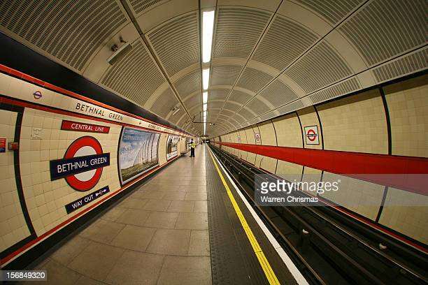 A wideangle shot of a Central Line platform on Bethnal Green Underground station in London